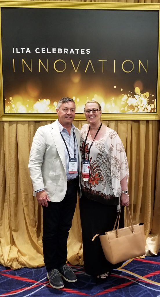 Jim Moreo with Lisa Stone, ILTACON 2018 Distinguished Peer Awards Finalist